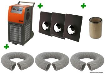 Luftreiniger-Paket Staubklasse M (3 Schläuche) (für Räume bis 40 qm)  PowerFilter 3500 mit BG BAU Förderung